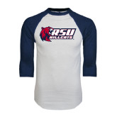 White/Navy Raglan Baseball T-Shirt-Stacked Combination Logo