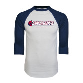 White/Navy Raglan Baseball T-Shirt-University Logo