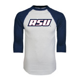 White/Navy Raglan Baseball T-Shirt-RSU