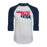 White/Navy Raglan Baseball T-Shirt-Hillcat Nation