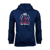 Navy Fleece Hoodie-Hillcats Basketball Stacked w/Ball