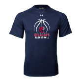 Under Armour Navy Tech Tee-Hillcats Basketball Stacked w/Ball