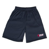 Performance Navy 9 Inch Length Shorts-Stacked Combination Logo