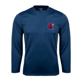 Performance Navy Longsleeve Shirt-Official Logo