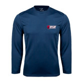 Performance Navy Longsleeve Shirt-Stacked Combination Logo