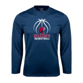 Performance Navy Longsleeve Shirt-Hillcats Basketball Stacked w/Ball