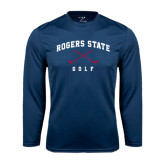 Performance Navy Longsleeve Shirt-Golf Crossed Clubs