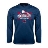 Performance Navy Longsleeve Shirt-Softball Crossed Bats