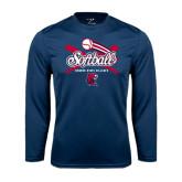 Syntrel Performance Navy Longsleeve Shirt-Softball Crossed Bats