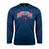 Performance Navy Longsleeve Shirt-Baseball Crossed Bats