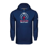 Under Armour Navy Performance Sweats Team Hoodie-Hillcats Basketball Stacked w/Ball