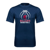 Syntrel Performance Navy Tee-Hillcats Basketball Stacked w/Ball