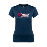 Ladies Syntrel Performance Navy Tee-Stacked Combination Logo