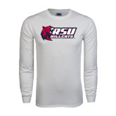 White Long Sleeve T Shirt-Stacked Combination Logo