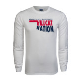 White Long Sleeve T Shirt-Hillcat Nation