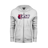 ENZA Ladies White Fleece Full Zip Hoodie-Stacked Combination Logo