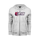 ENZA Ladies White Fleece Full Zip Hoodie-Stacked Combination Logo
