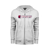 ENZA Ladies White Fleece Full Zip Hoodie-University Logo