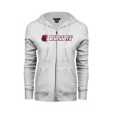 ENZA Ladies White Fleece Full Zip Hoodie-University Logo