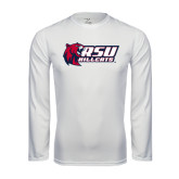 Performance White Longsleeve Shirt-Stacked Combination Logo