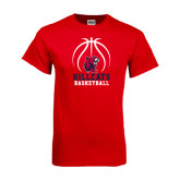 Red T Shirt-Hillcats Basketball Stacked w/Ball
