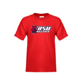 Youth Red T Shirt-Stacked Combination Logo