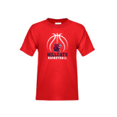 Youth Red T Shirt-Hillcats Basketball Stacked w/Ball