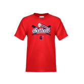 Youth Red T Shirt-Softball Crossed Bats