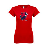 Next Level Ladies SoftStyle Junior Fitted Red Tee-Official Logo Distressed