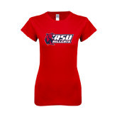 Next Level Ladies SoftStyle Junior Fitted Red Tee-Stacked Combination Logo