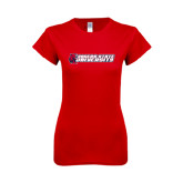 Next Level Ladies SoftStyle Junior Fitted Red Tee-University Logo
