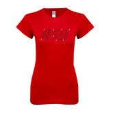 Next Level Ladies SoftStyle Junior Fitted Red Tee-RSU Rhinestones