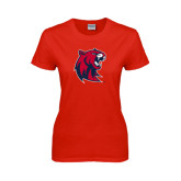 Ladies Red T Shirt-Official Logo Distressed