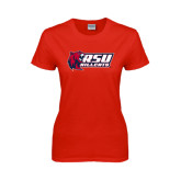 Ladies Red T Shirt-Stacked Combination Logo