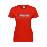 Ladies Red T Shirt-University Logo