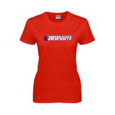 Ladies Red T Shirt-University Logo