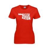Ladies Red T Shirt-Hillcat Nation