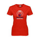Ladies Red T Shirt-Hillcats Basketball Stacked w/Ball