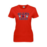 Ladies Red T Shirt-Hillcats Soccer Stacked