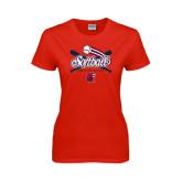 Ladies Red T Shirt-Softball Crossed Bats