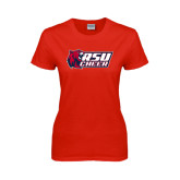Ladies Red T Shirt-Cheerleading