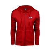 ENZA Ladies Red Fleece Full Zip Hoodie-Stacked Combination Logo