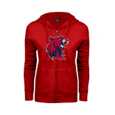 ENZA Ladies Red Fleece Full Zip Hoodie-Official Logo