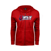 ENZA Ladies Red Fleece Full Zip Hoodie-Stacked Combination Logo