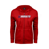 ENZA Ladies Red Fleece Full Zip Hoodie-University Logo