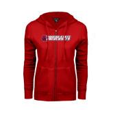ENZA Ladies Red Fleece Full Zip Hoodie-University Logo