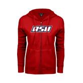ENZA Ladies Red Fleece Full Zip Hoodie-RSU
