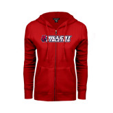 ENZA Ladies Red Fleece Full Zip Hoodie-Hillcat Athletics