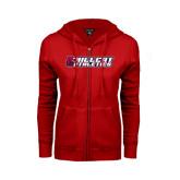 ENZA Ladies Red Fleece Full Zip Hoodie-Hillcat Athletics