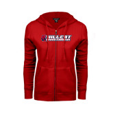 ENZA Ladies Red Fleece Full Zip Hoodie-Cross Country